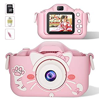 MUMAX Kids Camera Children Digital Cameras Video Recorder Toys 2-Inch IPS Screen 1080P for Girls and Boys Gift with 32GB Micro SD Card