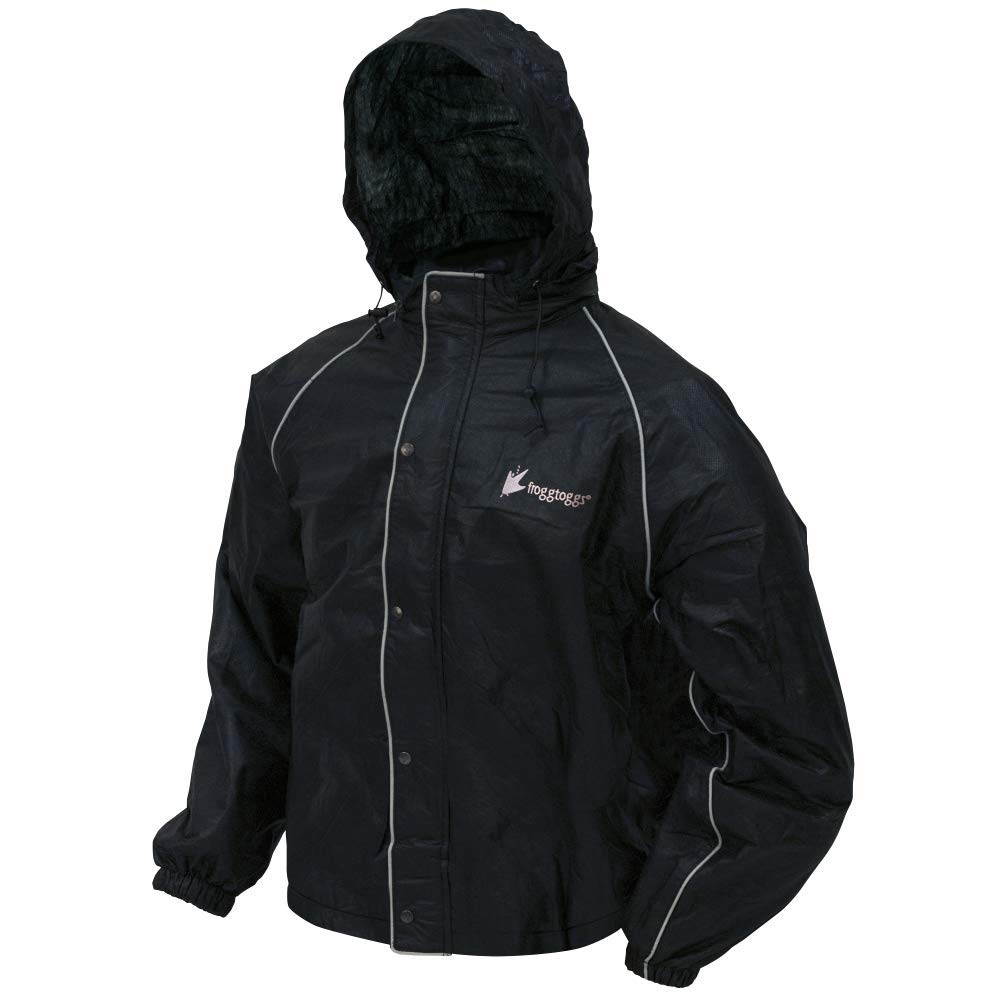Frogg Toggs Road Toad Reflective Jacket, Black, Size Large