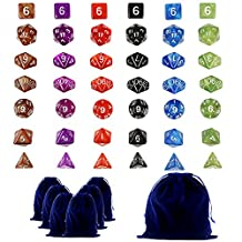 LoveS 42 Polyhedral Dice - Complete Sets Of Seven Dice In 6 Colors - 42 Dice in 6 little dice bags - FREE Large Velvet Dice Bag