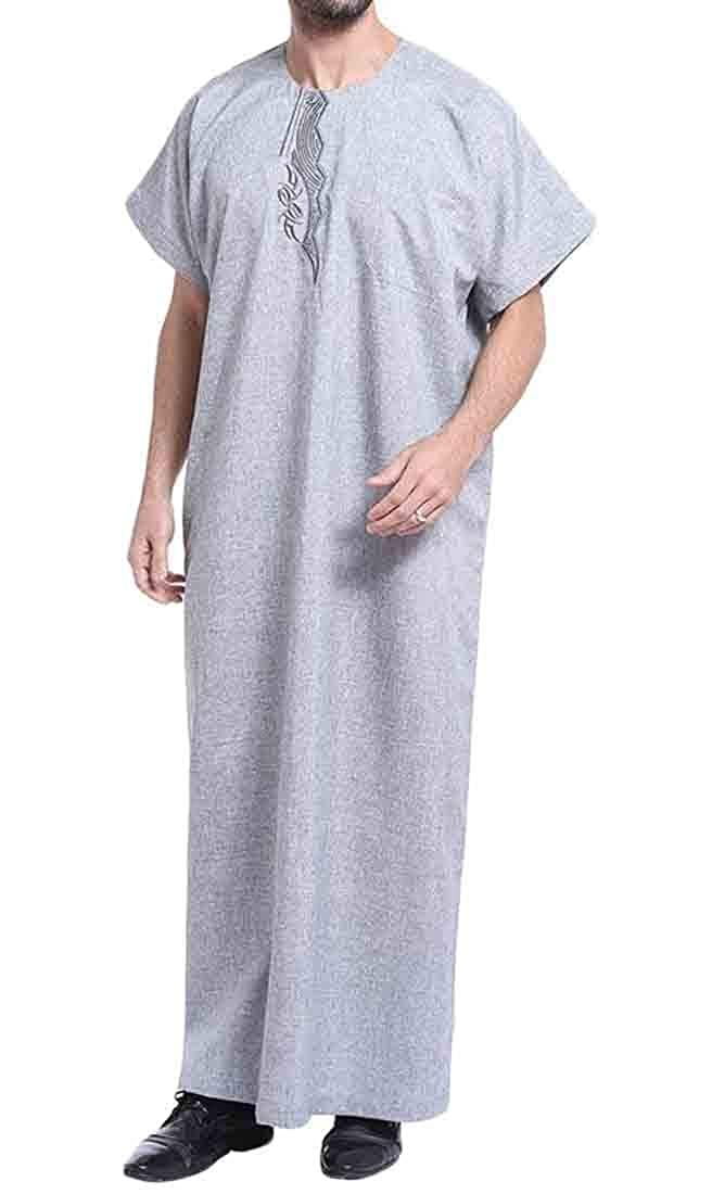Sweatwater Mens Middle East Gown Abaya Muslim Gown Short Sleeve Plus Size Shirts