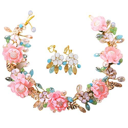 CLARA Bride Accessory Flowers Wedding Festival Headdress Imitation Crystal Diamond Headwear Crown Headband with Adjustable Ribbon (Crystal Berry Wreath)