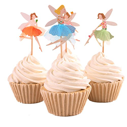 BETOP HOUSE Set of 24 Pieces Cute Ballet Dancer Girls Fairy Peri Dessert Muffin Cupcake Toppers for Picnic Wedding Baby Shower Birthday Party Server (#2) (Wedding Shower Cupcake Toppers compare prices)