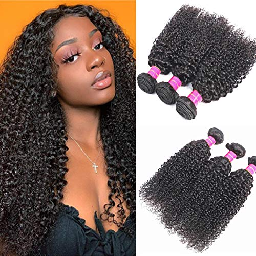 - Angels Beauty 9A Brazilian Virgin Curly Hair 3 Bundles 12 14 16Inch 100% Unprocessed Brazilian Kinky Curly Human Hair Bundles Natural Color