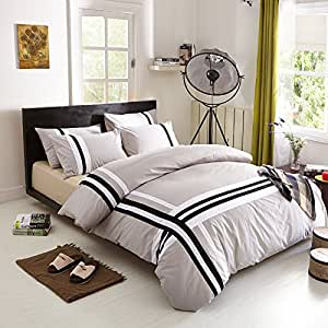 Benbu High End Fashion Bedding Cotton Solid Color Black And White Cross Striped Grey