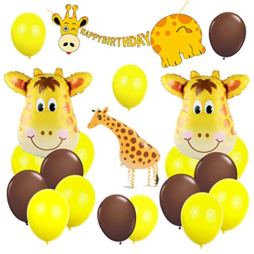 KREATWOW Giraffe Party Decorations Supplies Walking Giraffe Balloons Happy Birthday Banner for Birthday Party Baby Shower