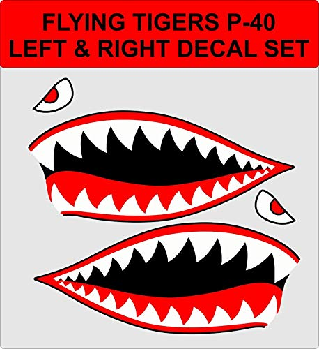 ShopForAllYou Stickers & Decals Flying Tigers Shark Teeth P-40 Warhawk WW2 Vinyl Decal Stickers ()