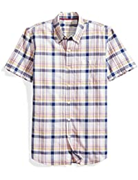 Men's Slim-Fit Short-Sleeve Lightweight Madras Plaid Shirt