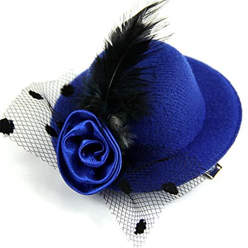 Abuvermon 1PC Ladys Mini Feather Rose Top Hat Cap Lace Fascinator Hair Clip Costume Accessory Blue]()