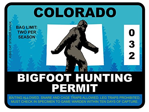 Bigfoot Hunting Permit - COLORADO (Bumper Sticker)