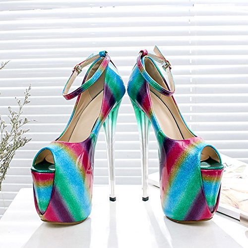 Kvinna Mode Peep Toe Plattform Super Hög Klack Pumpar Bröllop Skor Sju Färger