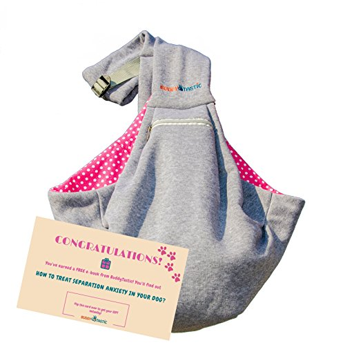 BuddyTastic Pet Sling Carrier - Reversible and Hands-Free Dog Bag with Adjustable Strap and Pocket - Soft Puppy Sling for Pets up to 13 lbs - Grey & Pink