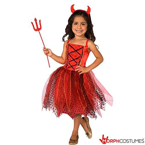 Girls Light Up Red Devil Satan Fancy Dress Costume - 8 - 10 Years (Girl Devil Costume)