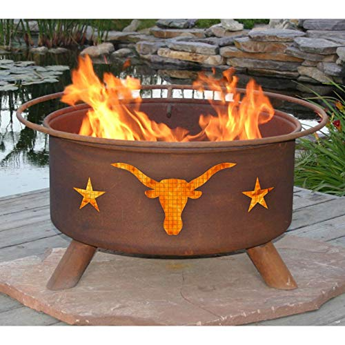 Jur_Global Texas Longhorns 30 diam. Fire Pit Set with Grill and Free Cover