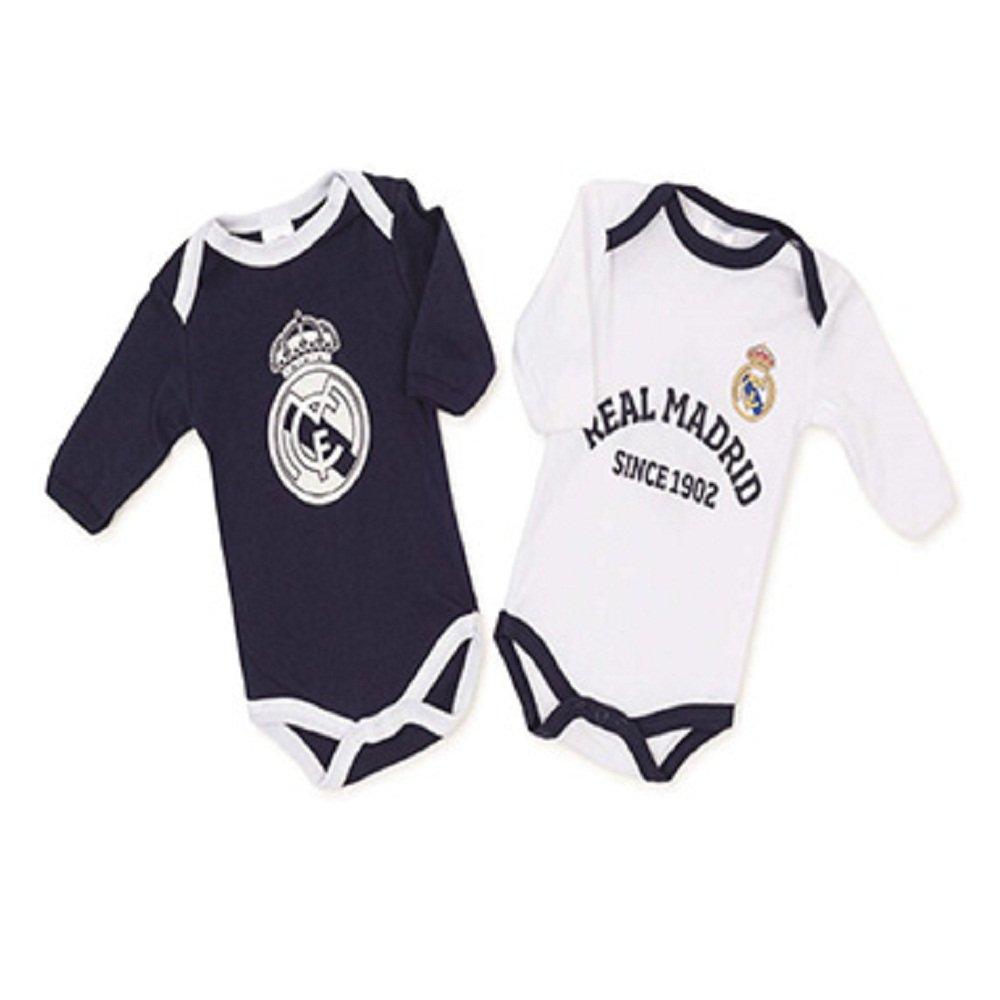 6 Mois FUTBOL Pack Real Madrid 2 Bodys Blanc et Bleu