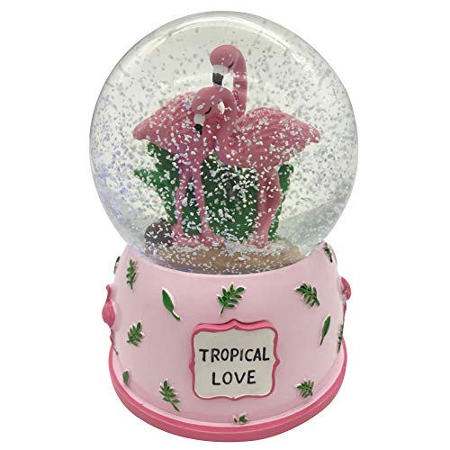 (Agyvvt Flamingo 3D Snow Crystal Ball Music Box Glass Glitter 6 x 4 inch Best Gift for Girlfriend Baby Girls Home Decor (Pink))