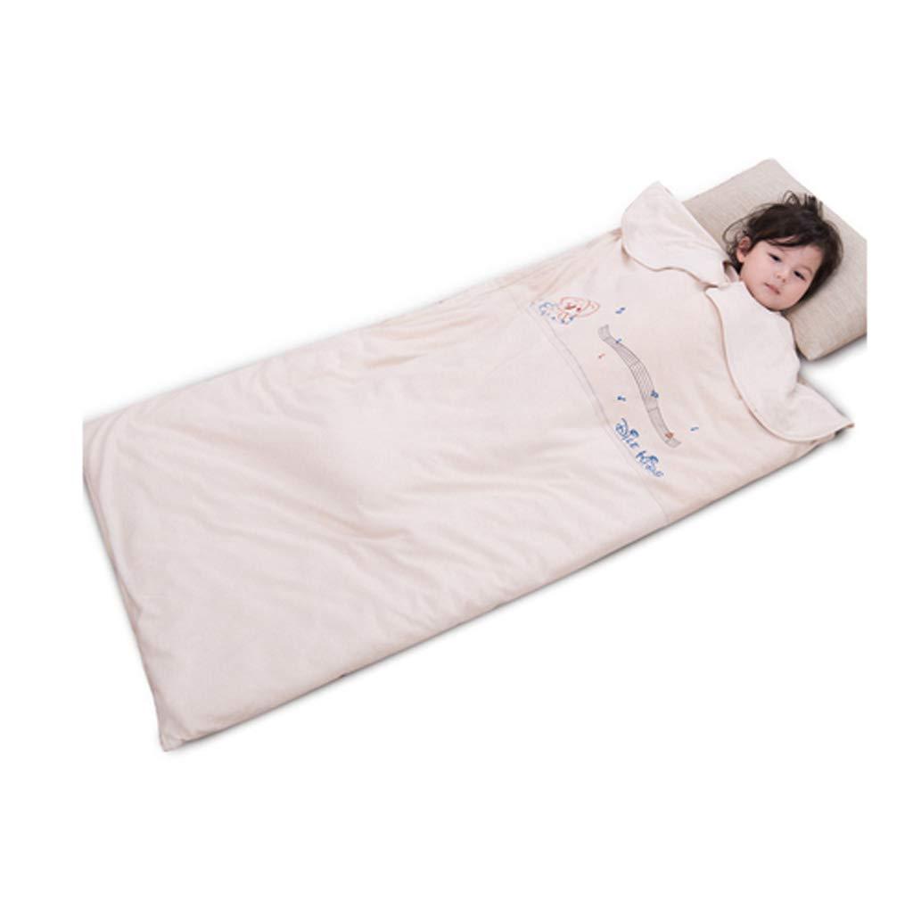 Schlafsack für Kinder AUGAUST Farbiger Baumwollbabyschlafsack Vier Jahreszeitkinderschlafsackbaby Anti-Trittsteppdecke (Farbe   Beige, größe   120cm70cm)