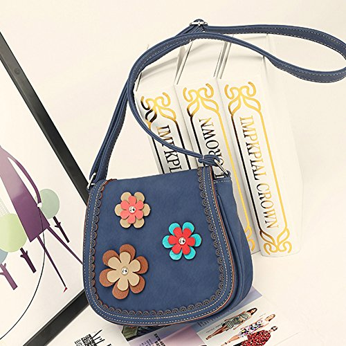 Fleurs avec Epaule Décorent Bleu Classique à Rétro à Sac Porté Petites Main Bandoulière Sac Femme 6py7cqF7