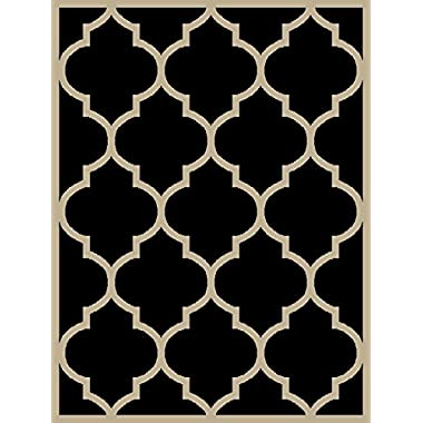Maxy Home Black & Cream 2'7  x 10' Fancy Moroccan Trellis Long Hallway Area Rug Runner