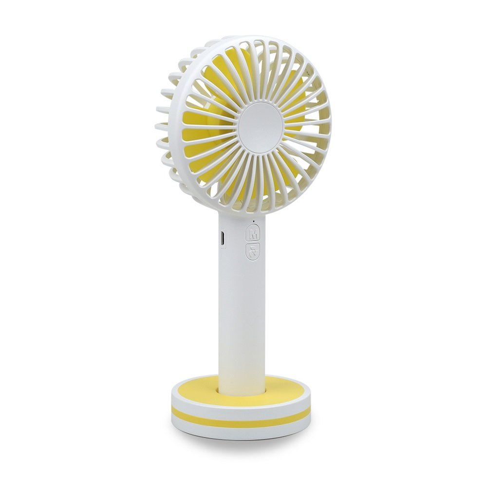 WPPOWER USB Desk Fan Portable Mini Fan With Rechargeable Battery 3 Gears Wind Power For Office Supplies,Outdoor Home Travel Use (White)