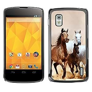 Qstar Arte & diseño plástico duro Fundas Cover Cubre Hard Case Cover para LG Google NEXUS 4 / Mako / E960 ( Horses Galloping Mustang Brown Fur)