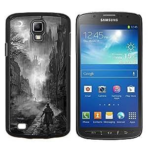Negro Pintura White Castle Vampiro- Metal de aluminio y de plástico duro Caja del teléfono - Negro - Samsung i9295 Galaxy S4 Active / i537 (NOT S4)