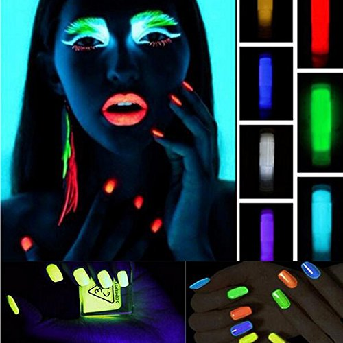 Sindy Body Face Lips Glowing in the Dark Phosphorescent Luminescent Fluorescent Powder Glow In Dark Nail Decorations Nail Art Acrylic Use DIY Kit 10 Neon Colors