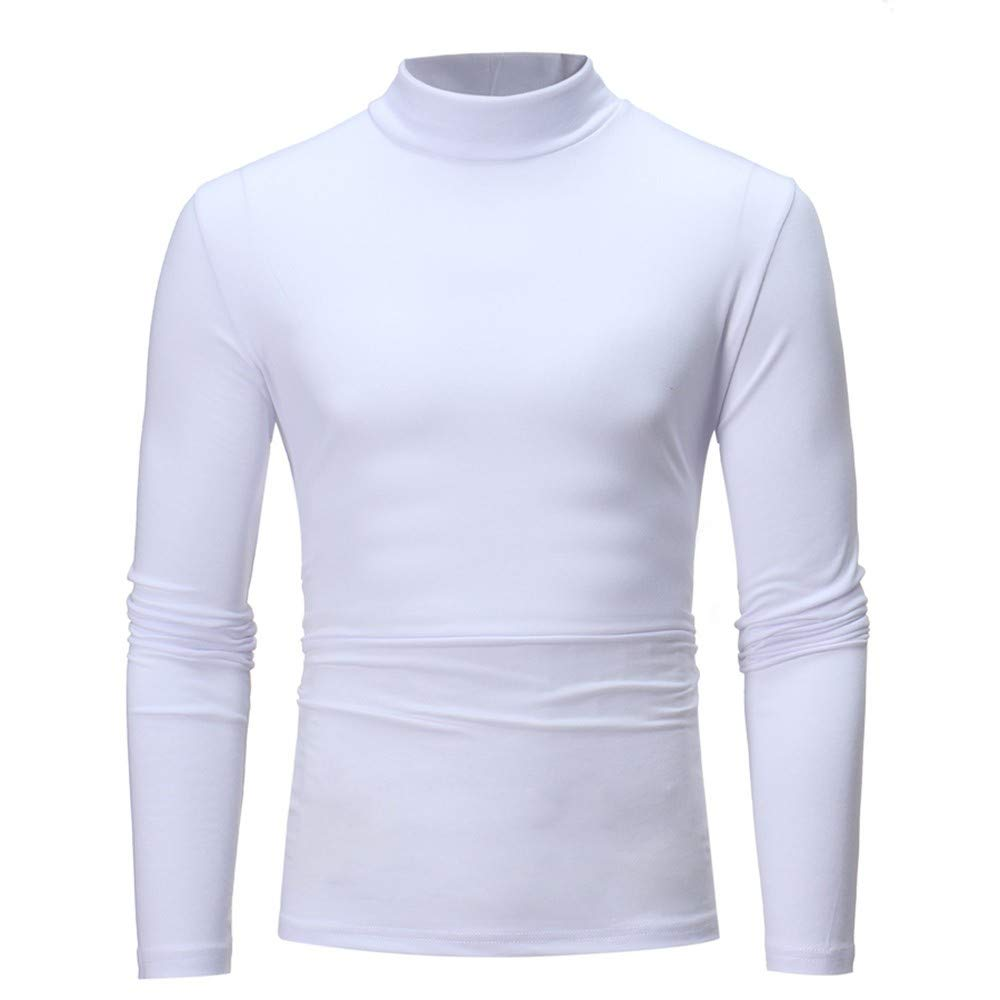 Pullover Sweatshirt for Mens Pure Color Turtleneck Long Sleeve T-Shirt Top Blouse Autumn Winter Warm Pullover Shirt