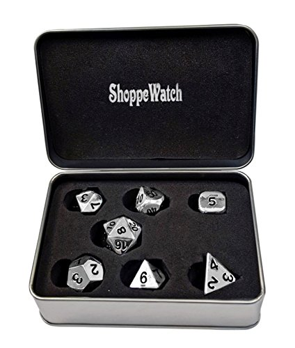 ShoppeWatch Polyhedral Metal Dice Set of 7 Black Numbers for Dungeons and Dragons RPG MTG D&D DND Gaming Role Playing Card Games D4 D6 D8 D10 D12 D20 in Metallic Tin Box DM56BK (Metallic Dice)