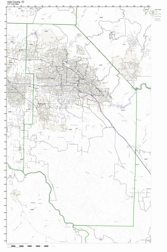 Ada County, Idaho ID ZIP Code Map Not Laminated