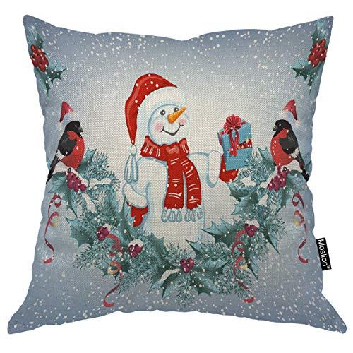 Moslion Snowman Pillow Cover Snowflake Bird Christmas Mistletoe Tree Cherry Leaves Throw Pillow Case 18x18 Inch Cotton Linen Canvas Square Cushion Decorative Sofa Bed Green White