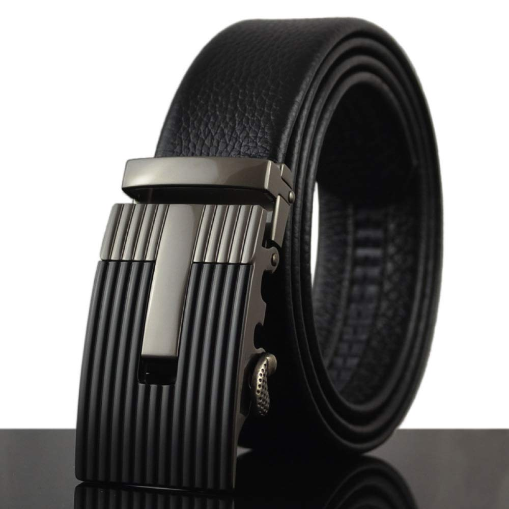 DENGDAI Mens Casual Belt Automatic Buckle Belt Leather Length 100-135cm