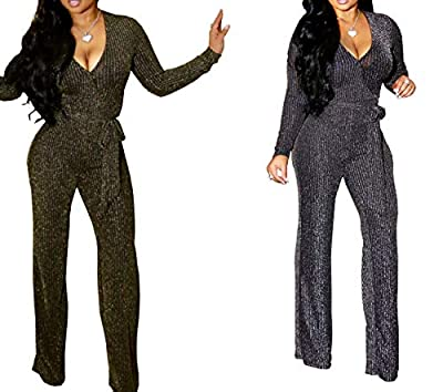 FairBeauty Women's Sexy Party Jumpsuits One Piece Deep V Neck Long Sleeve Pants with Belt
