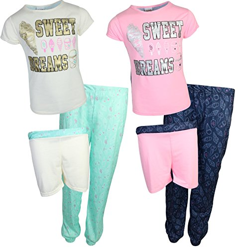'Sweet & Sassy Girls 6 Piece Mix & Match Pajama Set (2 Tops, 2 Shorts and 2 Pants) Sweet Dreams, Size 14/16' - Sweet Dreams Girl