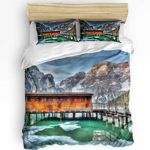- YEHO Art Gallery King Size Luxury 3 Piece Duvet Cover Sets for Boys Girls,Natural Canyon Wooden House Green Lake Bedding Set,Include 1 Comforter Cover with 2 Pillow Cases
