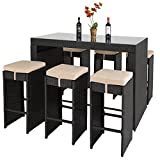 Best Choice Products 7-Piece Outdoor Rattan Wicker Bar Dining Patio Furniture Set w/Glass Table Top, 6 Stools