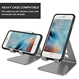 [Updated Solid Version] OMOTON Desktop Cell Phone Stand Tablet Stand, Advanced 4mm Thickness Aluminum Stand Holder Mobile Phone Tablet (Up to 10.1 inch), Grey