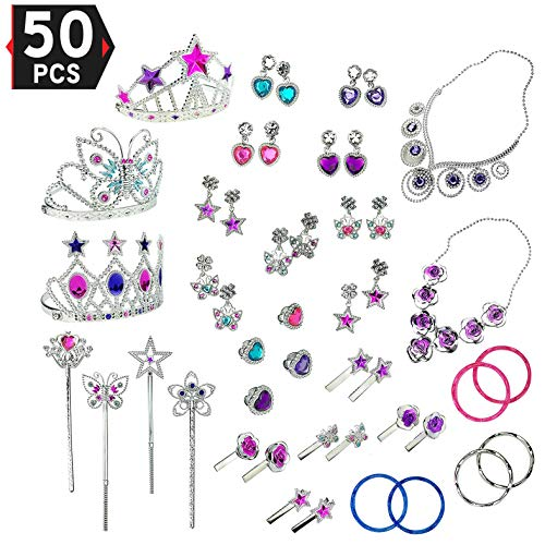 Liberty Imports Princess Jewelry Dress Up Accessories Toy Playset for Girls (50 pcs) -