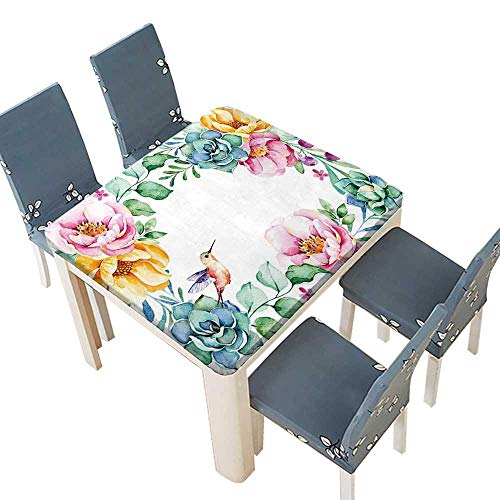 (PINAFORE Printed Fabric Tablecloth Beautiful Watercolor Frame Border Roses Flower Foliage Succulent Plant Branches Wedding Birthday Baby Shower Party 49 x 49 INCH (Elastic Edge))