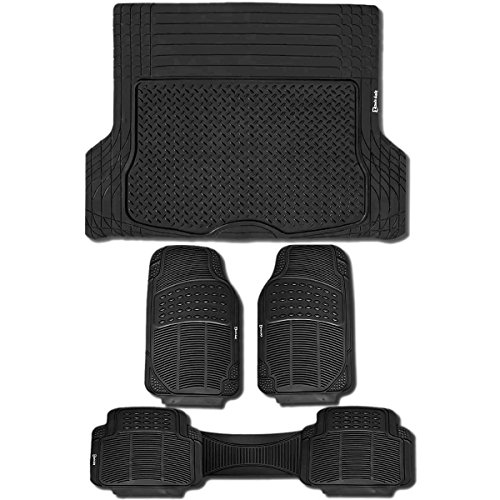Zento Deals Set of 4 Pieces Odorless All Weather Trimmable Heavy Duty PVC Rubber Vehicle Track Cargo Liner and Floor Mats - Rubber Tortoise