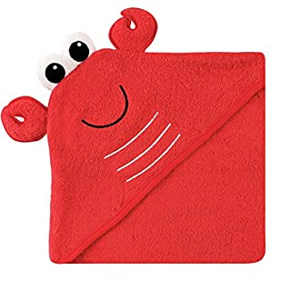 Luvable Friends Unisex Baby Cotton Animal Face Hooded Towel, Lobster, One Size