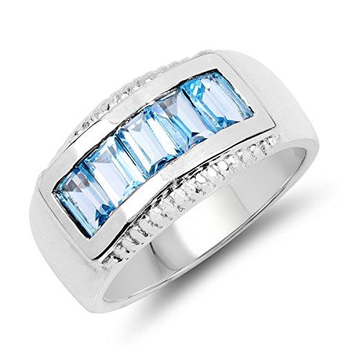1.70 Carat Genuine Blue Topaz .925 Sterling Silver 5 Stone Ring