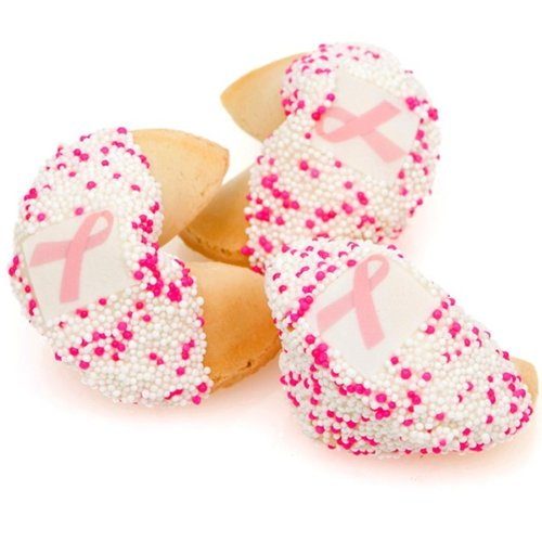 Lady Fortunes® White Chocolate Pink Ribbon Fortune Cookies- One Dozen