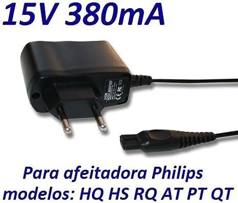 CARGADOR ESP ® Cargador Corriente 15V Reemplazo Afeitadora Philips HQ8000 y HQ8290/22 Recambio Replacement