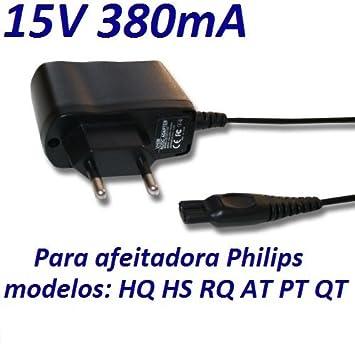 Cargador Corriente 15V Reemplazo Afeitadora Philips QT-Serie, por ej. QT4022, QT4050, QT4070, QT4090. Sustituye: HQ8505, CRP136 Recambio Replacement