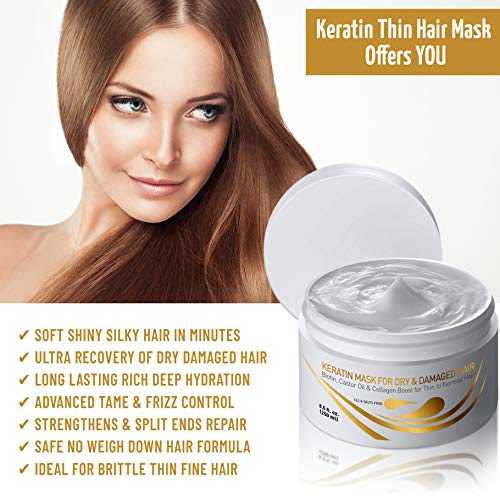 Vitamins Keratin Hair Mask Deep Conditioner – Biotin Protein with Castor Oil Repair for Dry Damaged and Color Treated…