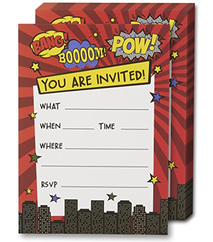 Superhero Invitation Cards - 24 Fill-in Invites with Envelopes for Kids Birthday Bash and Theme Party, 5 x 7 Inches, Postcard Style from Juvale