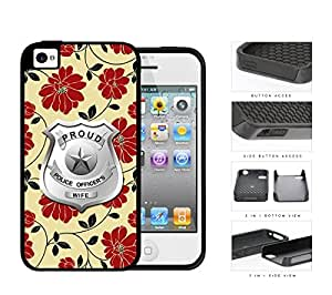 Proud Police Officer's Wife Red Floral 2-Piece Dual Layer High Impact Rubber Silicone Cell Phone Case Apple iPhone 4 4s