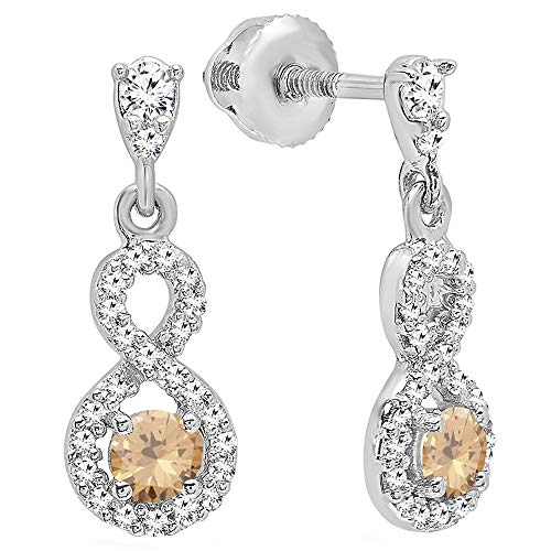 Dazzlingrock Collection 0.40 Carat (ctw) 10K Round Champagne & White Diamond Ladies Dangling Drop Earrings, White -