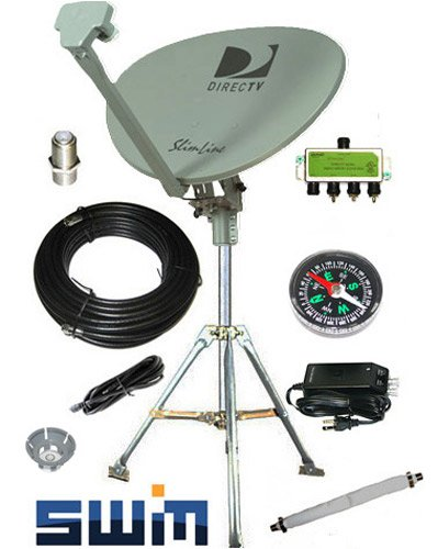 DirecTV SWM SL3S Portable Satellite RV Dish Kit Camping Tailgating with Tripod SWiM and level - Directv Hdtv