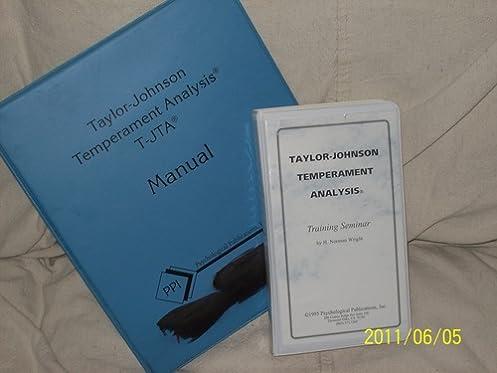 taylor johnson temperament analysis handbook for use with the 1996 rh amazon com T-JTA Assessment T-JTA Assessment